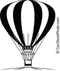 balão, silhuetas, vetorial, voando