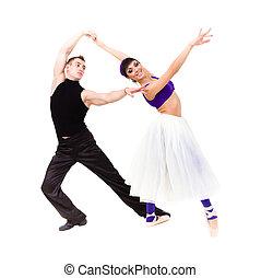 balé, cheio, dançar, par, jovem, comprimento