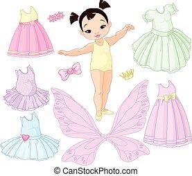 balé, diferente, fada, menina bebê, princesa, vestidos