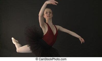 balé, lento, -, movimento, dançarino, tutu