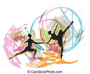 balé, vetorial, ilustração