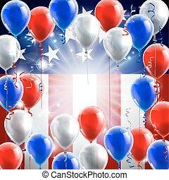 balões, americano, desenho, bandeira, fundo