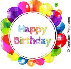 balões, aniversário, bandeira, feliz