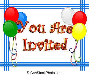balões, aniversário, borda, convite