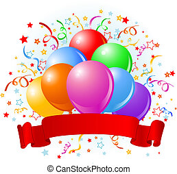 balões, aniversário, desenho
