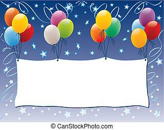 balões, anunciando