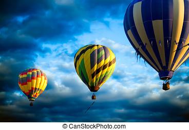 balões ar quente, manhã, decole