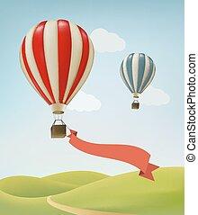 balões ar quente, vector., sky.