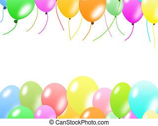 balões, borda, coloridos