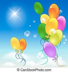 balões, céu