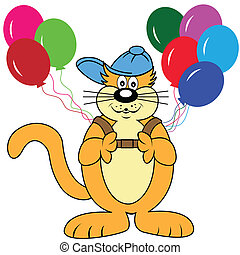 balões, caricatura, gato