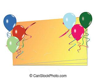 balões, cartão, celebração