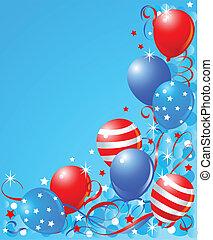 balões, cartão, para, quarto julho