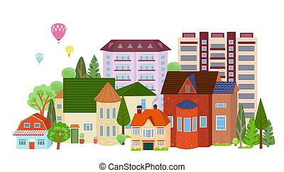 balões, cityscape, isolado, ar, céu, quentes, caricatura