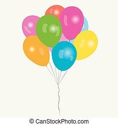 balões, colorido, grupo