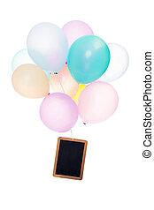 balões coloridos, ardósia, com, copyspace, isolado, branco