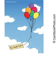 balões coloridos, com, vazio, tag, ligado, a, céu azul