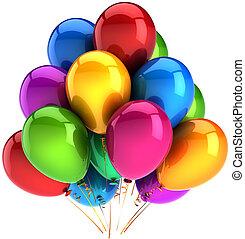 balões coloridos, decoração partido