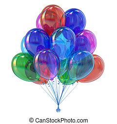 balões coloridos, decoração, partido, hélio, grupo