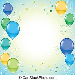 balões, coloridos, festivo