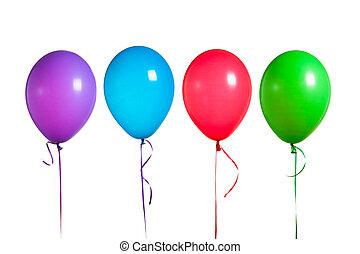 balões coloridos, grupo