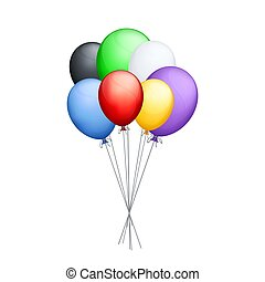 balões, coloridos, grupo