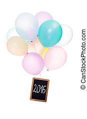 balões coloridos, tábua, com, palavra, 2016, isolado, branco