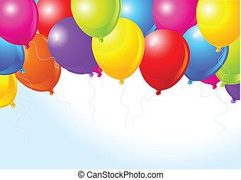 balões coloridos, voando, cima