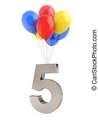 balões, com, numere 5