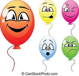 balões, com, rostos engraçados