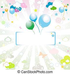 balões, com, vazio, tag