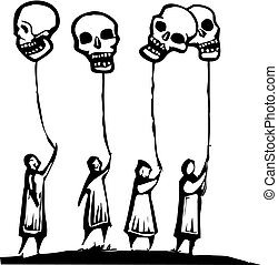 balões, cranio