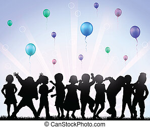 balões, crianças, Feliz