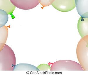 balões, diferente, inflado, borda, cores