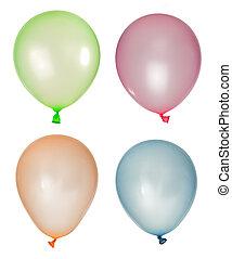 balões, diferente, jogo, inflado, cores
