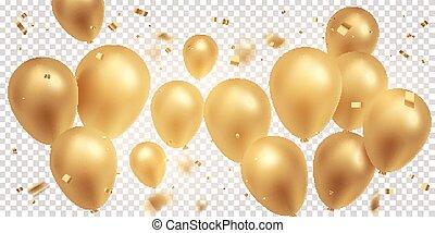 balões, dourado