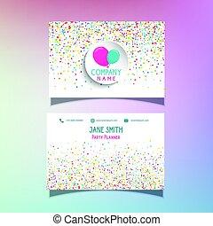 balões, e, confetti, cartão negócio, 0505
