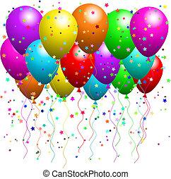 balões, e, confetti