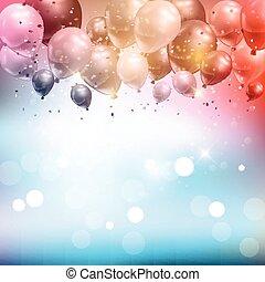 balões, e, confetti, fundo