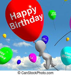 balões, em, a, céu, mostra, celebrando, feliz aniversário