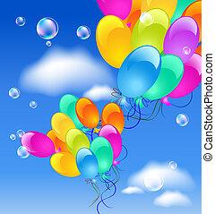 balões, em, a, céu