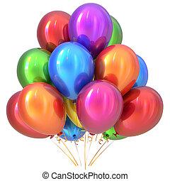 balões, feliz aniversário, decoração partido, coloridos, multicolored