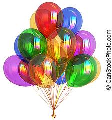balões, feliz aniversário, decoração partido, festivo, coloridos