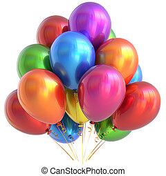 balões, feliz aniversário, decoração partido, lustroso, multicolored