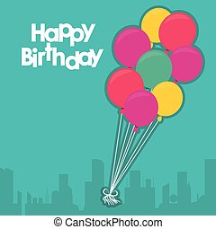 balões, feliz aniversário, desenho