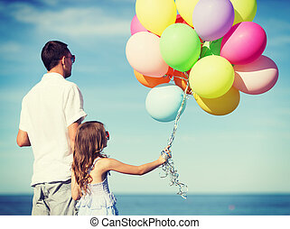 balões, filha, coloridos, pai