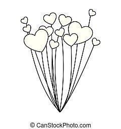 balões, forma, hélio, coração