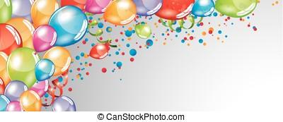 balões, fundo, festivo