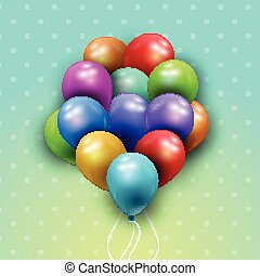 balões, fundo, grupo