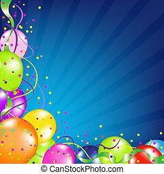 balões, fundo, sunburst, aniversário